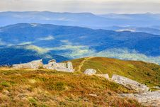 Footpath At The Hill Top Leading Into Mountains Royalty Free Stock Photo