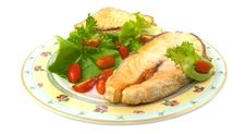 Free Grilled Salmon With Vegetables Stock Image - 33457721