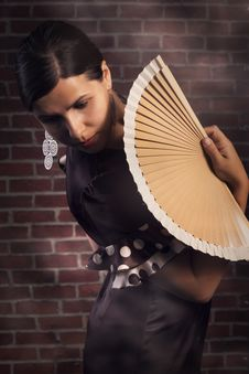 Flamenco Woman With Hand Fan Royalty Free Stock Photos