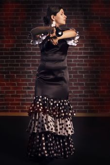 Free Flamenco Dance With Castanets Royalty Free Stock Images - 33461579