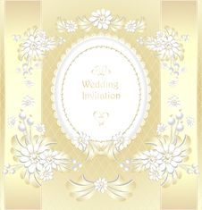 Free Wedding Invitation Or Congratulation  In Gold Stock Photos - 33465233