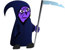 Cute Cartoon Grim Reaper With Scythe Stock Photo