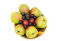 Free Pears, Plums And Prunes On The Plate On A White Background. Royalty Free Stock Images - 33475689