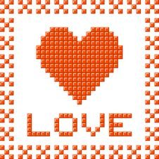 Free Love Heart Made Out Of Pixel Blocks Royalty Free Stock Photography - 33476027