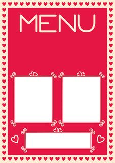 Free Valentine S Menu Template With Heart Borders Royalty Free Stock Image - 33476056