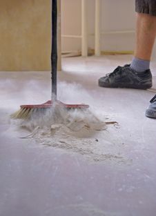 Free Sweeping The Floor With A Broom Royalty Free Stock Image - 33476276