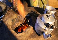 Kettle On The Fire - Rural India Royalty Free Stock Photo