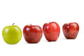 Free Red Apples And One Green Royalty Free Stock Photo - 33499865
