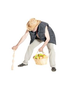 Free Man With A Basket Of Fruit And Cane Stock Photography - 33492512