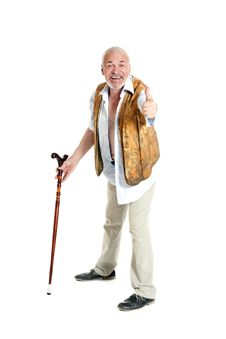 Senior Man Walking With A Cane Royalty Free Stock Photography