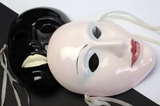 Free Black And White Theme Ceramic Masks. Close Up. Royalty Free Stock Photos - 33493698