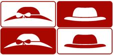 Female And Male Hats Collection Stock Photo