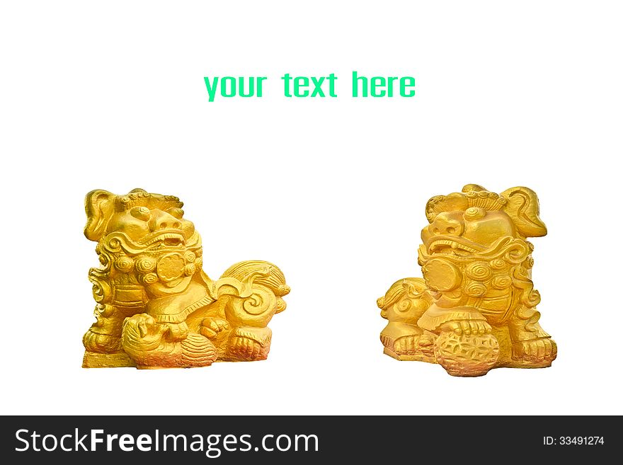 Couple of chinese golden lion statues