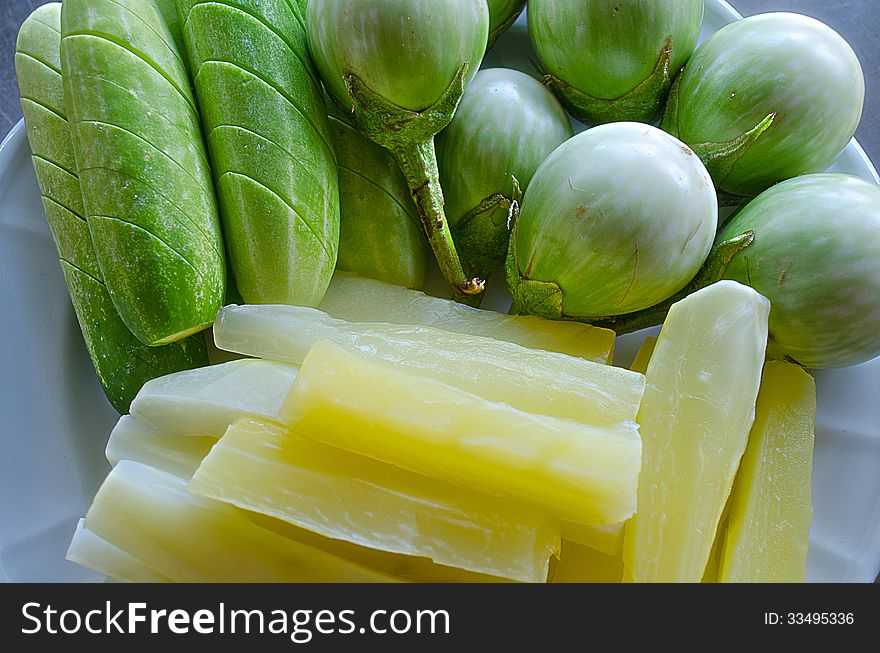 Fresh Vegetables of Cucumbers,Thai Tomatos and Boiled Gourd