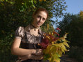 Free A Girl With Bouquet In Autumn Stock Photos - 3353473