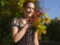 Free A Girl With Bouquet In Autumn Royalty Free Stock Image - 3353526
