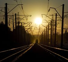 Free Railroad On Sunset 2 Royalty Free Stock Photography - 3350977