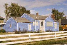 Free Blue House White Fence Stock Photos - 3351053