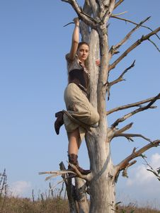 Girl On A Tree In Autumn In A Park Stock Photography