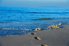 Beach With Footprints Royalty Free Stock Image