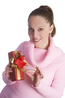 Free Girl With Gift Stock Photo - 3354680