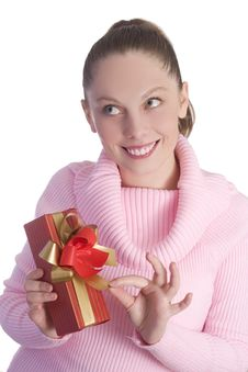 Free Girl With Gift Stock Photos - 3354713