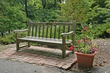 Bench And Flowers Royalty Free Stock Photography