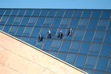 Free Cleaners On The Building Stock Images - 3355704