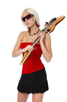 Free Blonde Girl Holding A Guitar Royalty Free Stock Photos - 3357208