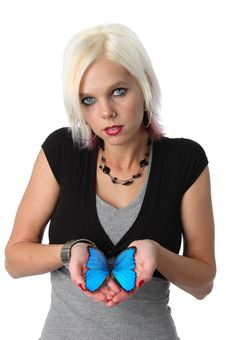 Free Beautiful Blonde Holding A Blue Butterfly Stock Photos - 3357233