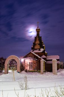 Free Church In A Moonlight Stock Photo - 3358550