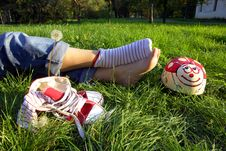 Free Shoes And Feet On Grass Stock Photo - 3358910