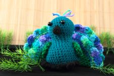 Colorful Crocheted Toy Peacock