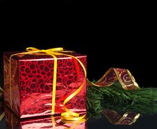 Free New Year S Gift In The Red Packaging And The Green Line Royalty Free Stock Images - 33510119