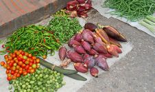 Fresh Healthy Vegetables At The Market, Laos,Asia Stock Photo