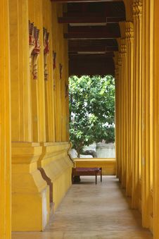 Corridor In A Buddhist Temple, Vientiane, Laos Royalty Free Stock Image