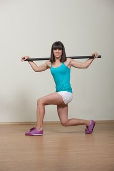 Free Attractive Brunette Woman Doing Fitness Exercises Stock Photography - 33515202