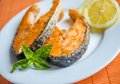 Free Grilled Salmon Steaks Stock Images - 33558574