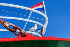 Free Seagull On A Fishingboat. Stock Photo - 33553920