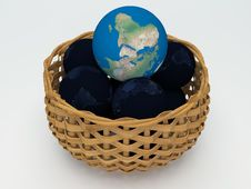 3D Earth And Black Earth Royalty Free Stock Photography