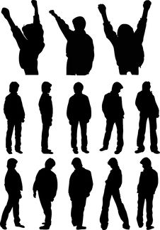 Free Silhouettes Of Teenagers Royalty Free Stock Photo - 33560395