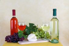 Wine, Cheese And Grapes Stock Photos