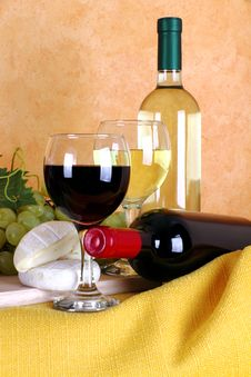 Wine, Cheese And Grapes Stock Images