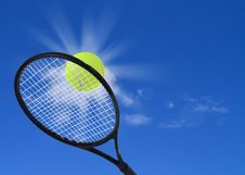 Free Tennis Ball And Racket In Action Royalty Free Stock Photos - 33564298