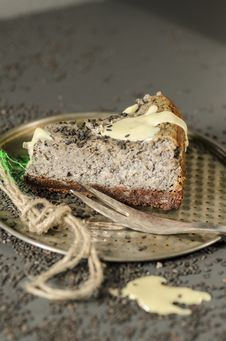 Cheesecake With Black Sesame Seeds On Halloween Stock Photo