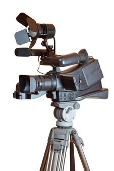 Free Professional Video Camera On A Tripod Stock Photos - 33592483