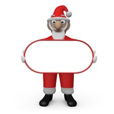 Santa Holding An Empty Sign Royalty Free Stock Photography