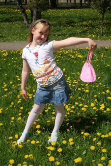 Young Girl With Pink Bag Stock Photo