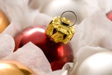 Red Christmas Ball In Box Stock Image