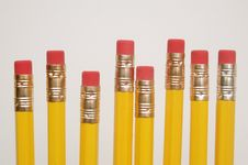 Eight Yellow Pencils Stock Image